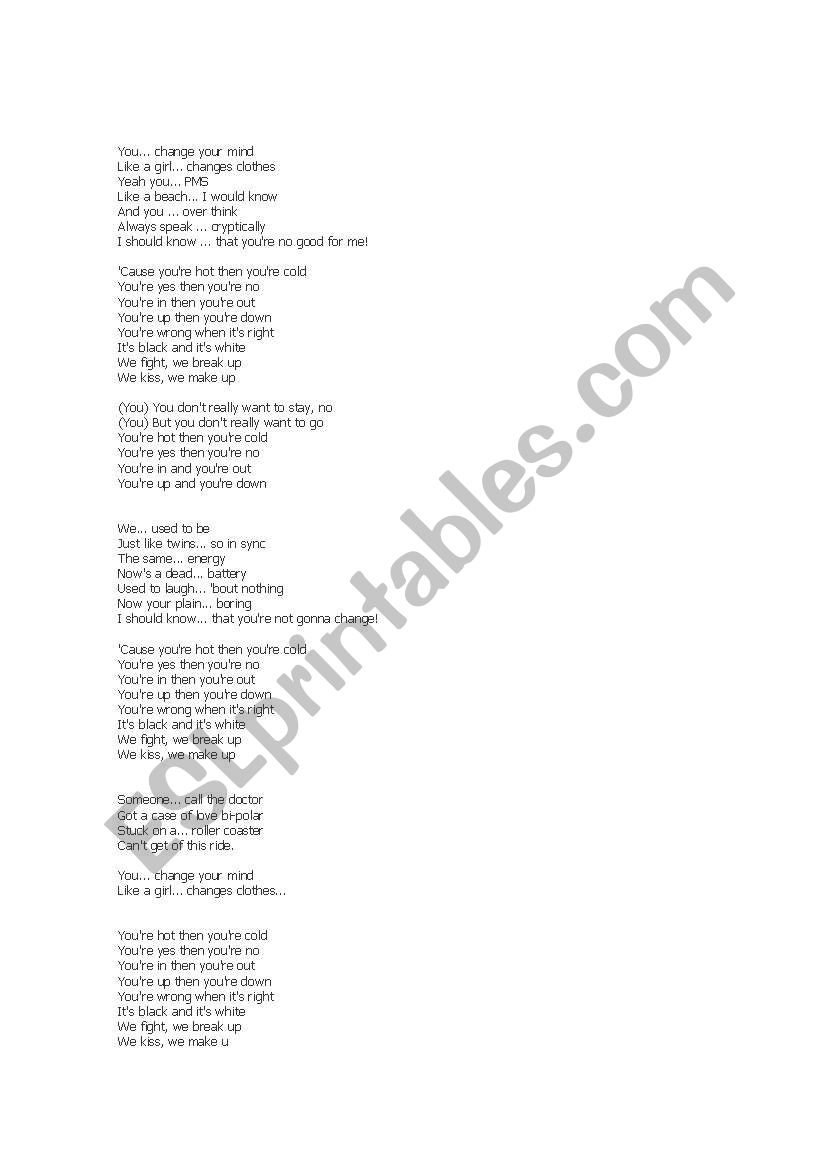 SOng Hot and Cold - ESL worksheet by arantxa75