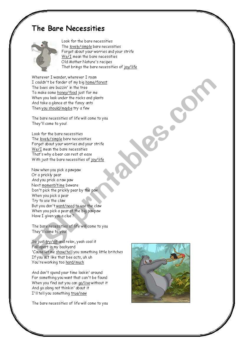 Jungle Book Bare Necessities Song