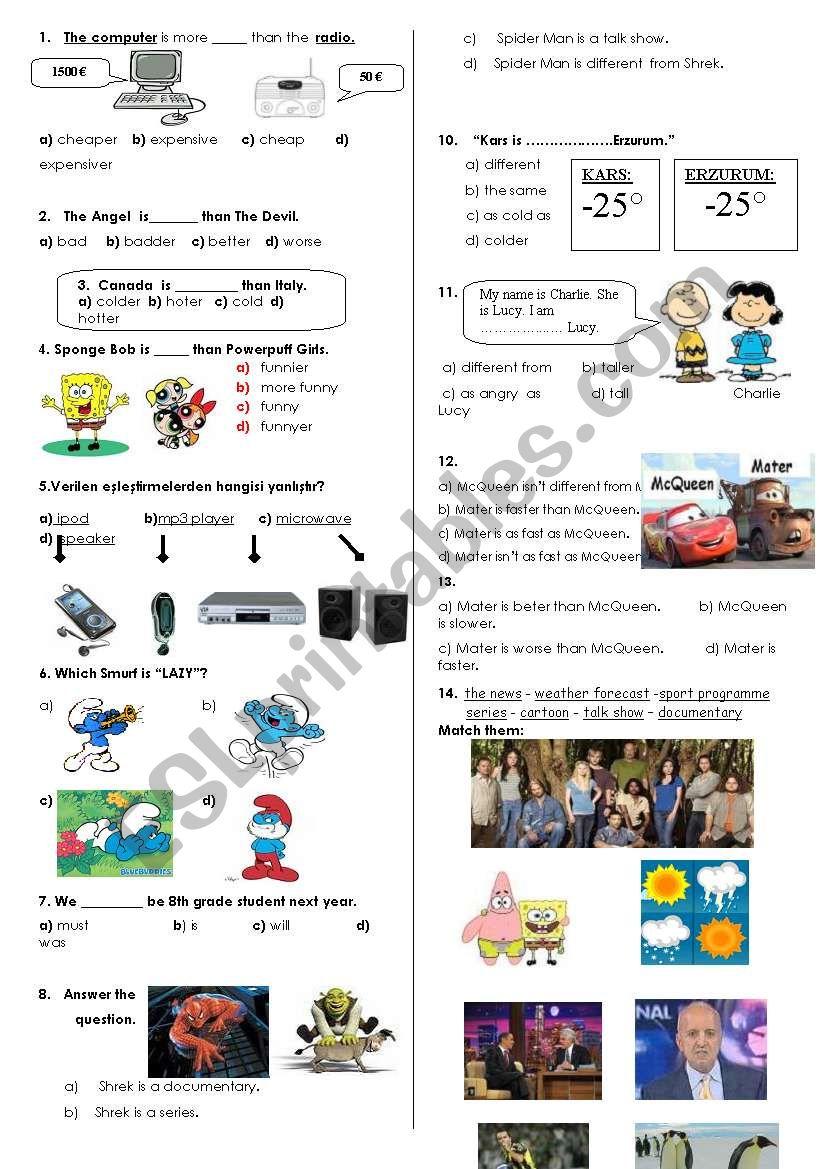 7th grade test worksheet
