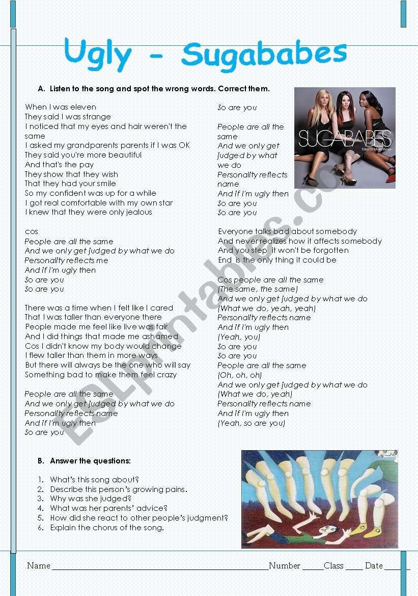 Ugly - Suggababes song worksheet