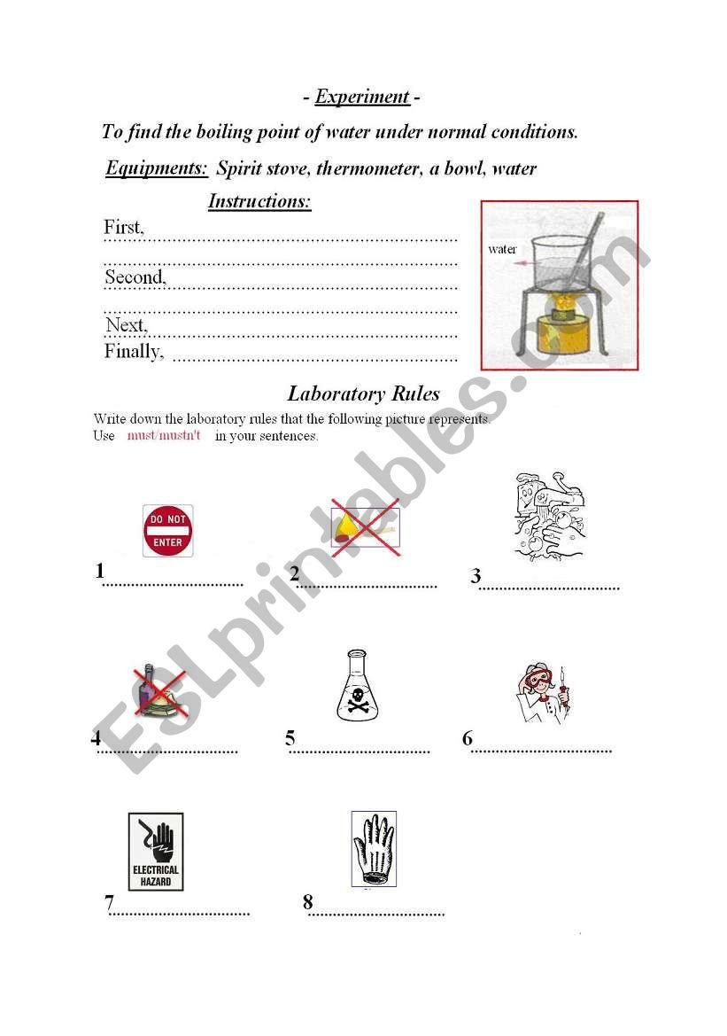 laboratory work, laboratory rules -writing