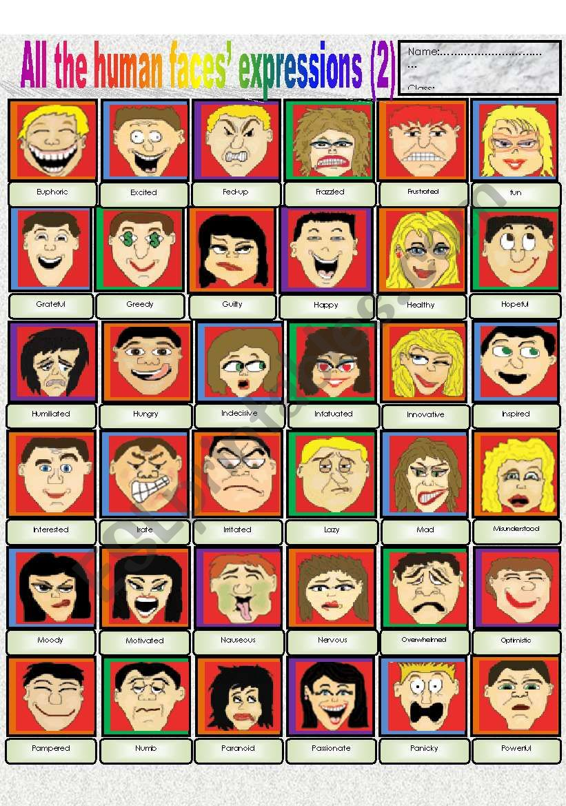 All the human faces´  expressions (part 2)