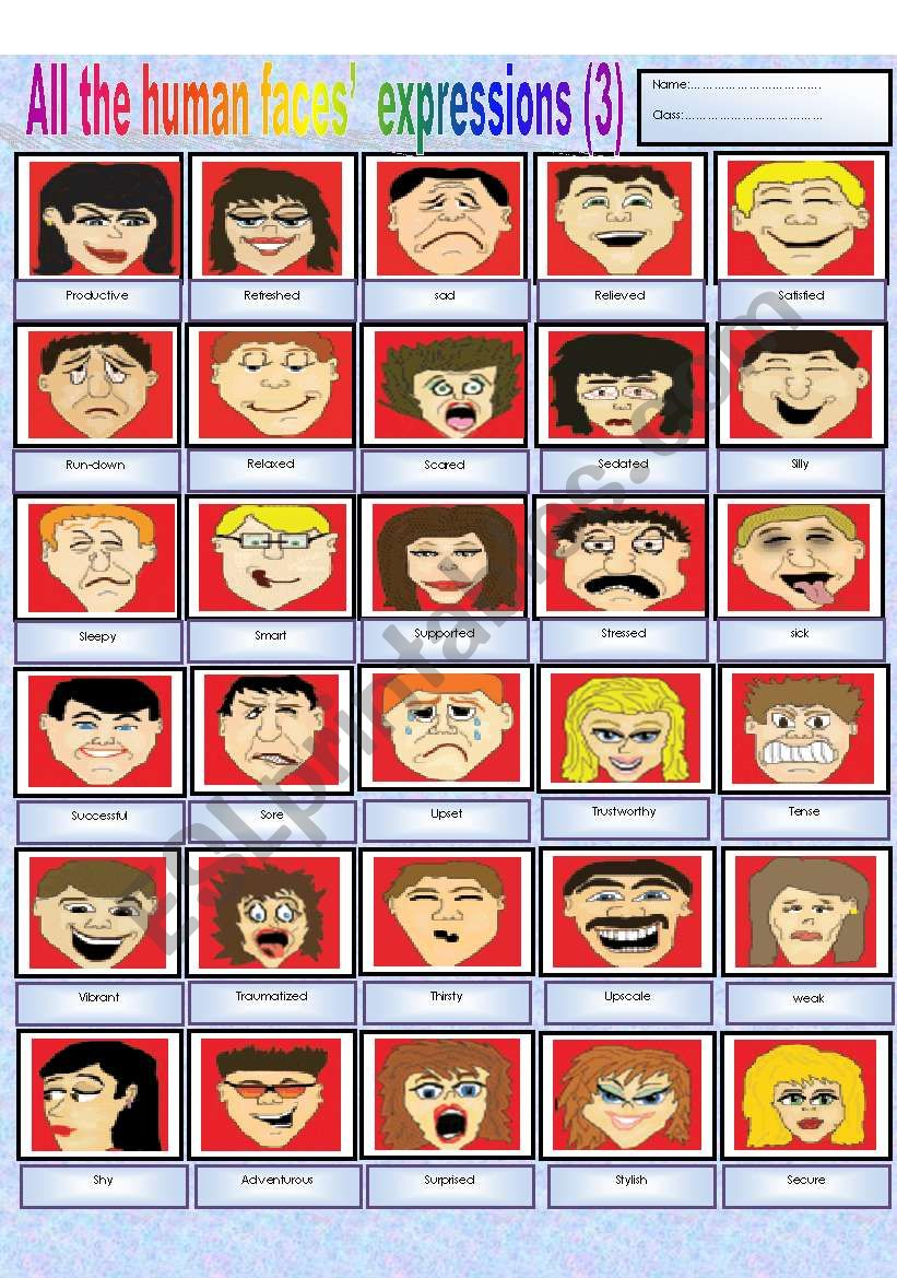 All the human faces´ expressions (part 3)