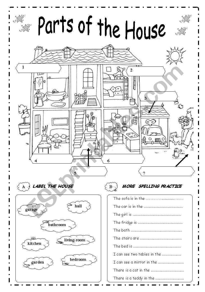 PARTS  OF  THE  HOUSE - B&W worksheet