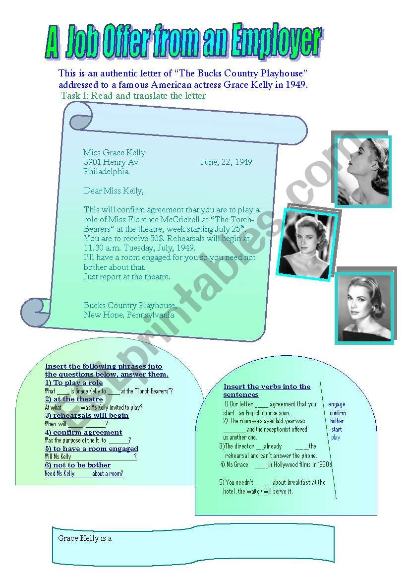 About Grace Kelly worksheet