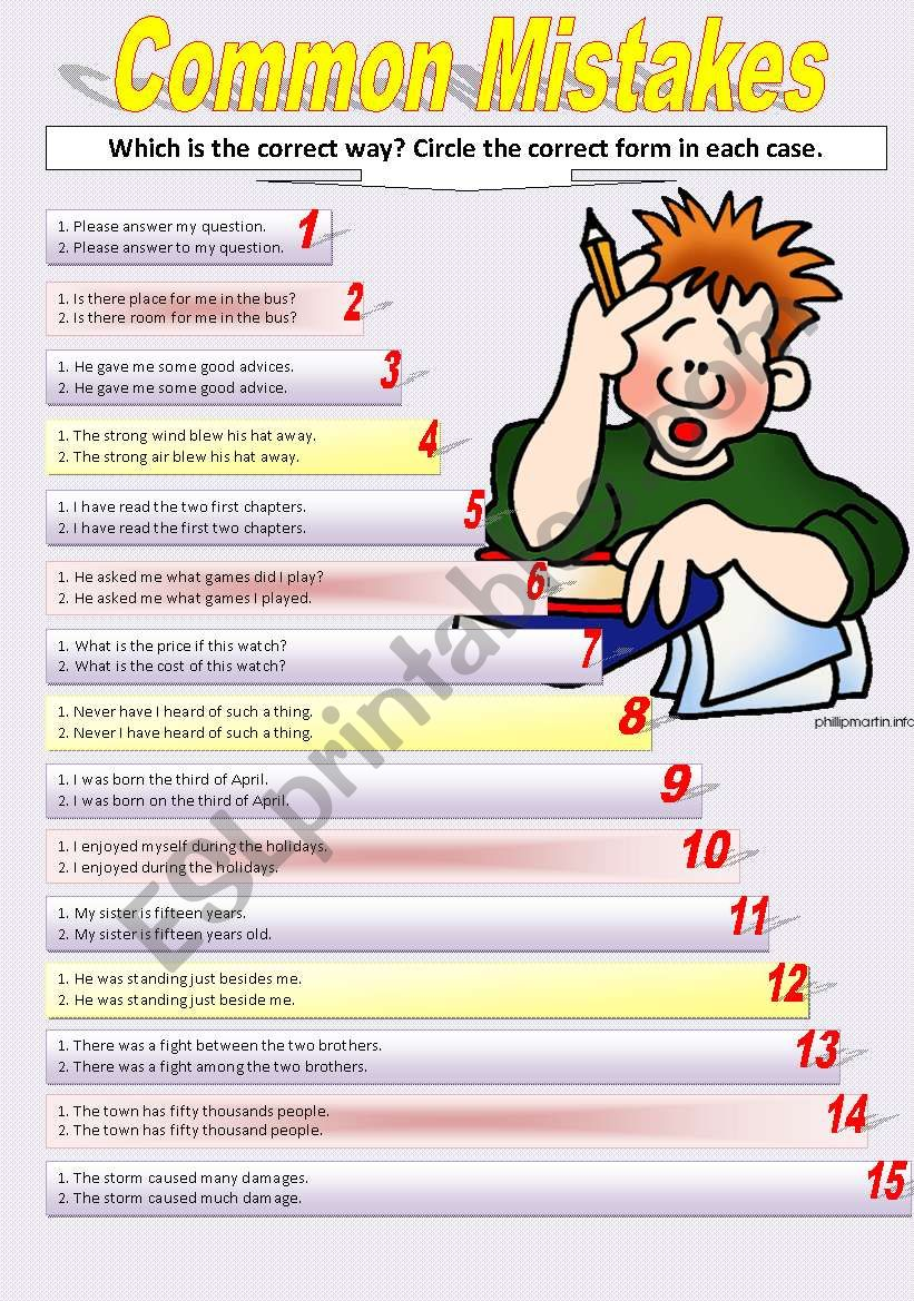 COMMON MISTAKES worksheet