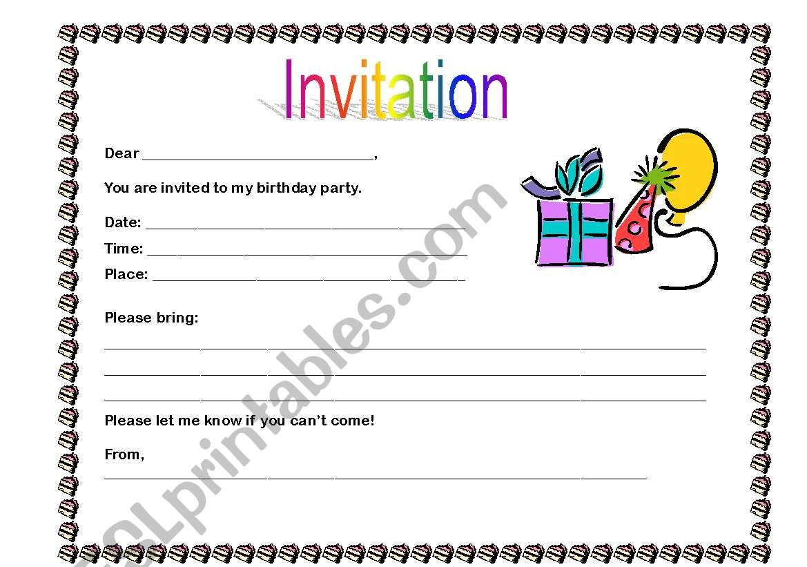 birthday invitation esl worksheet by ingrid gill. Black Bedroom Furniture Sets. Home Design Ideas