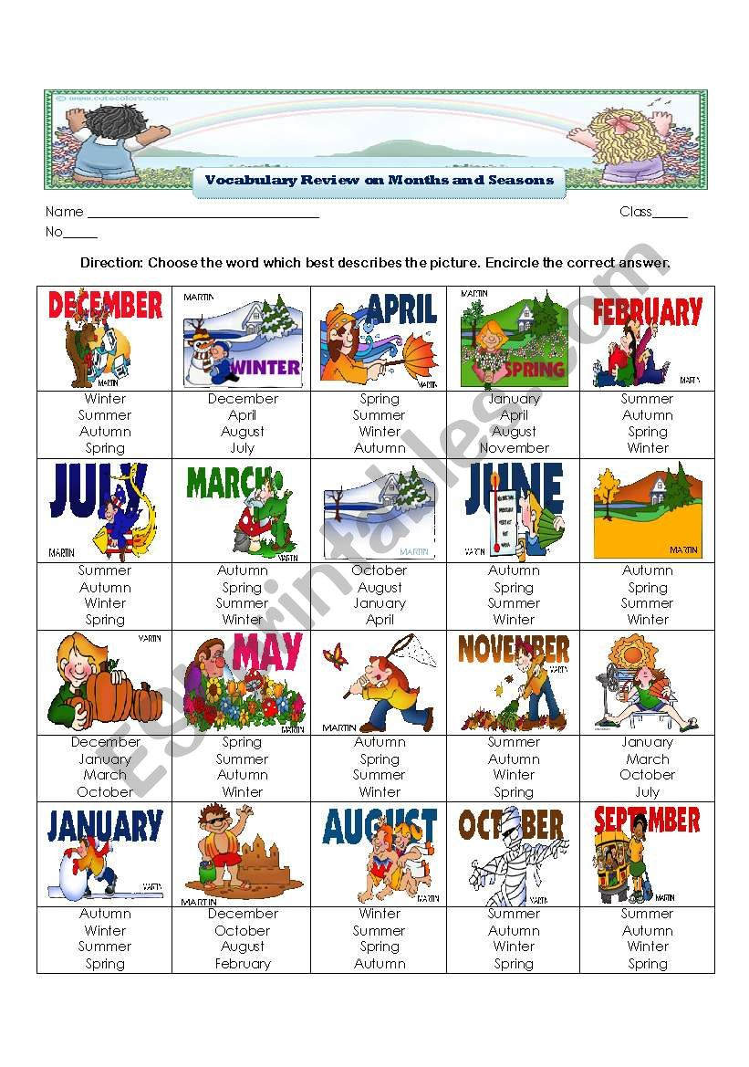 Vocabulary Review on Months and Seasons of the Year