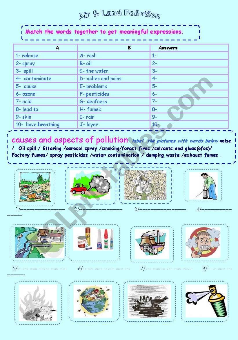 pollution :causes and aspects - ESL worksheet by lamisadel