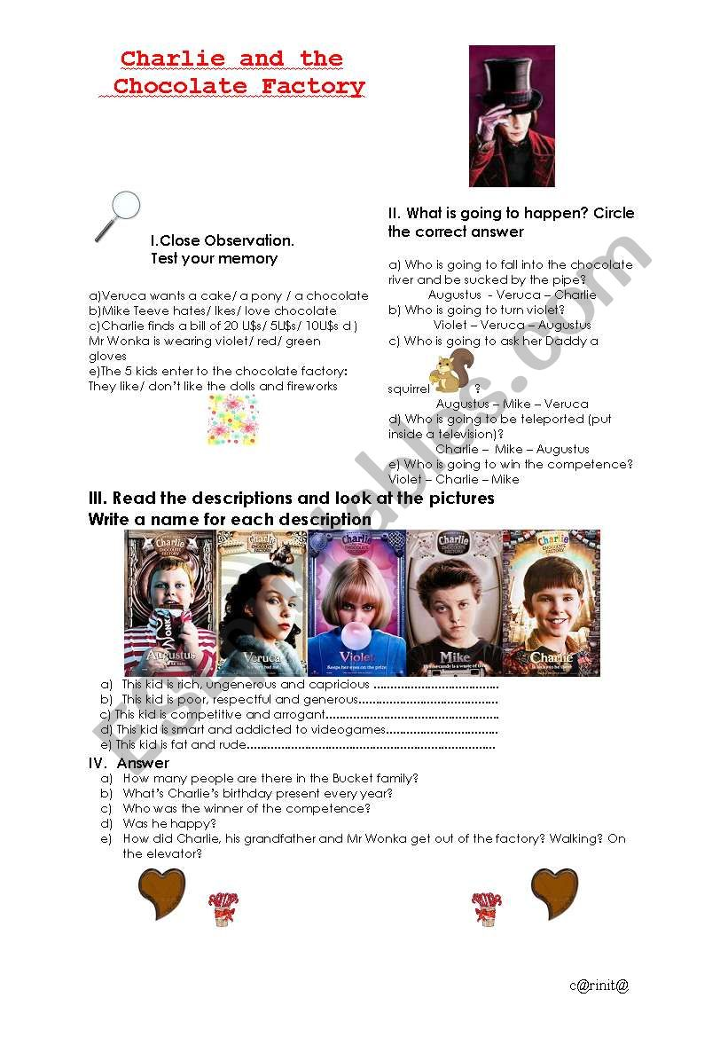 Charlie and the Chocolate Factory (2005) Student´s Worksheet