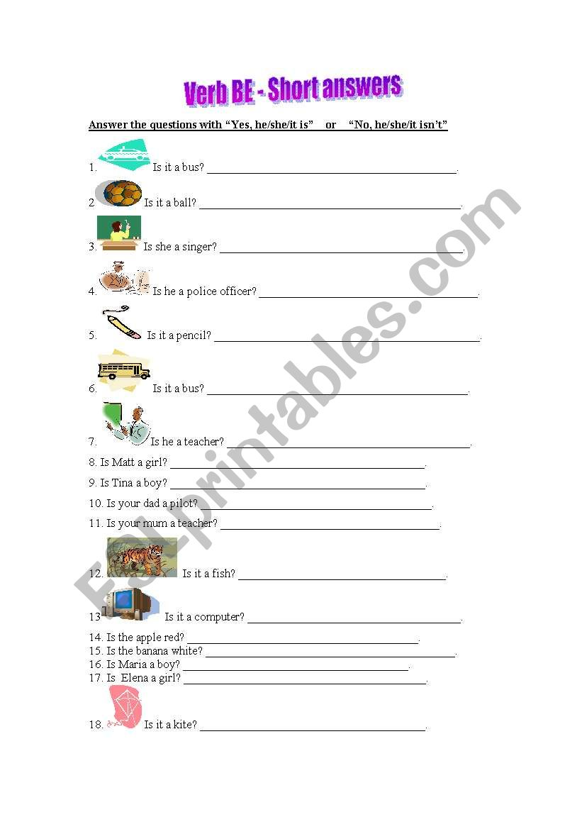 Verb Be - Short answers worksheet
