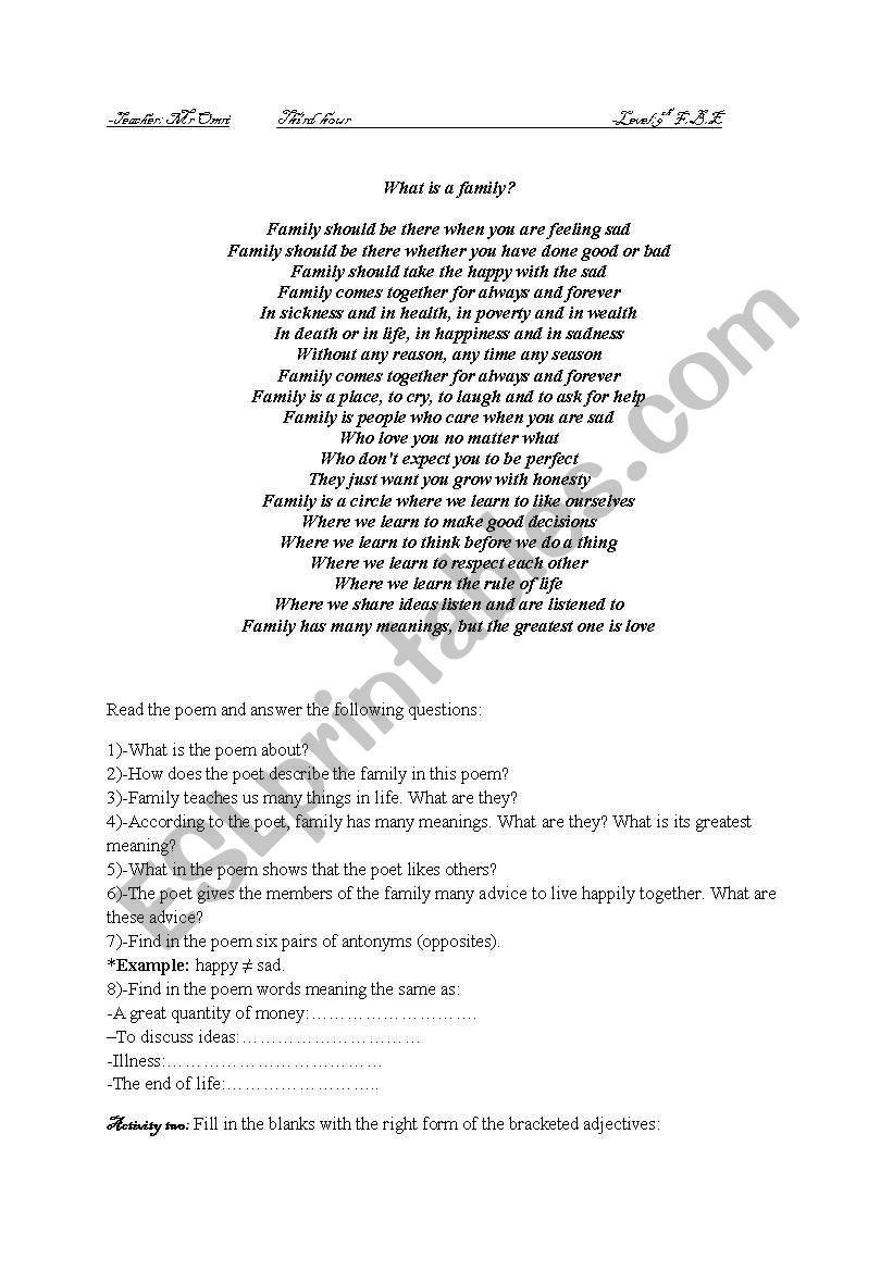 Poem worksheet