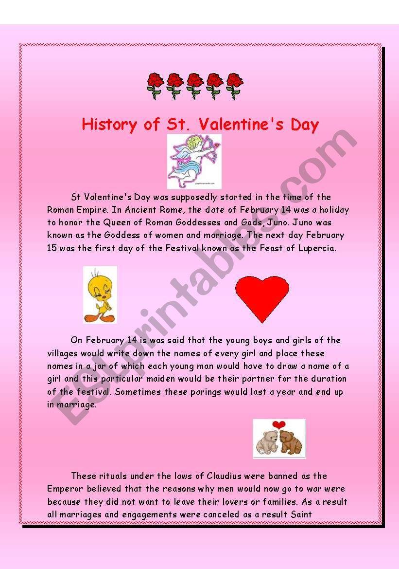 history of st valentine s day esl worksheet by alexlavi. Black Bedroom Furniture Sets. Home Design Ideas