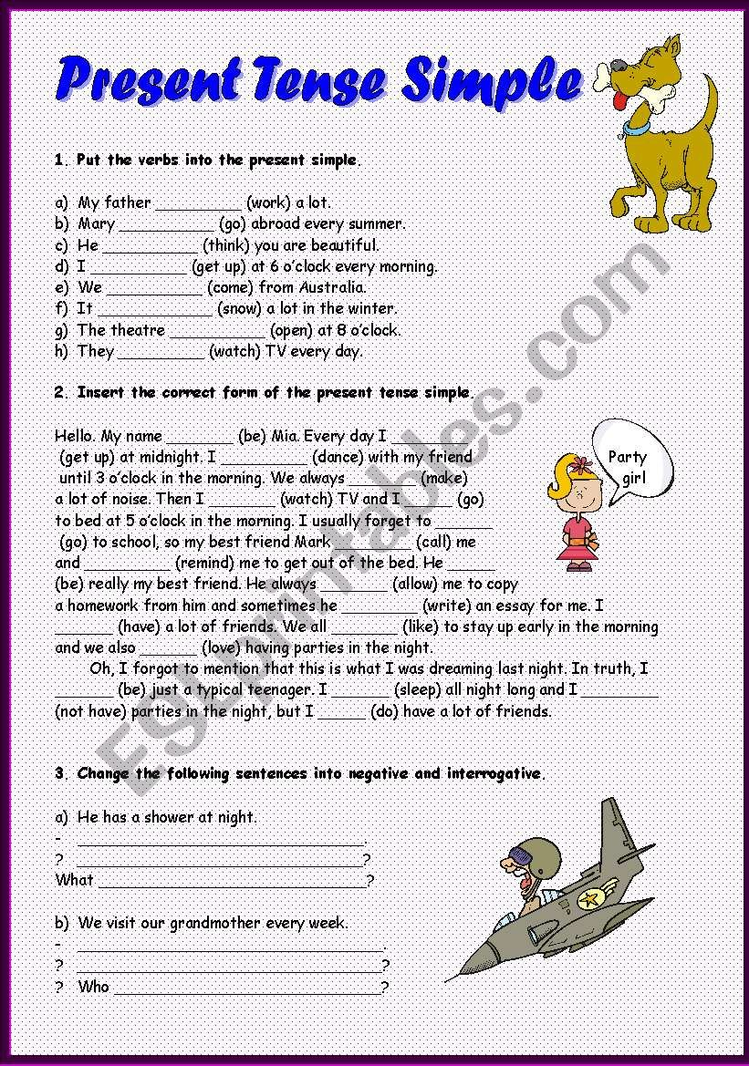 Present Tense Simple, 2 pages worksheet