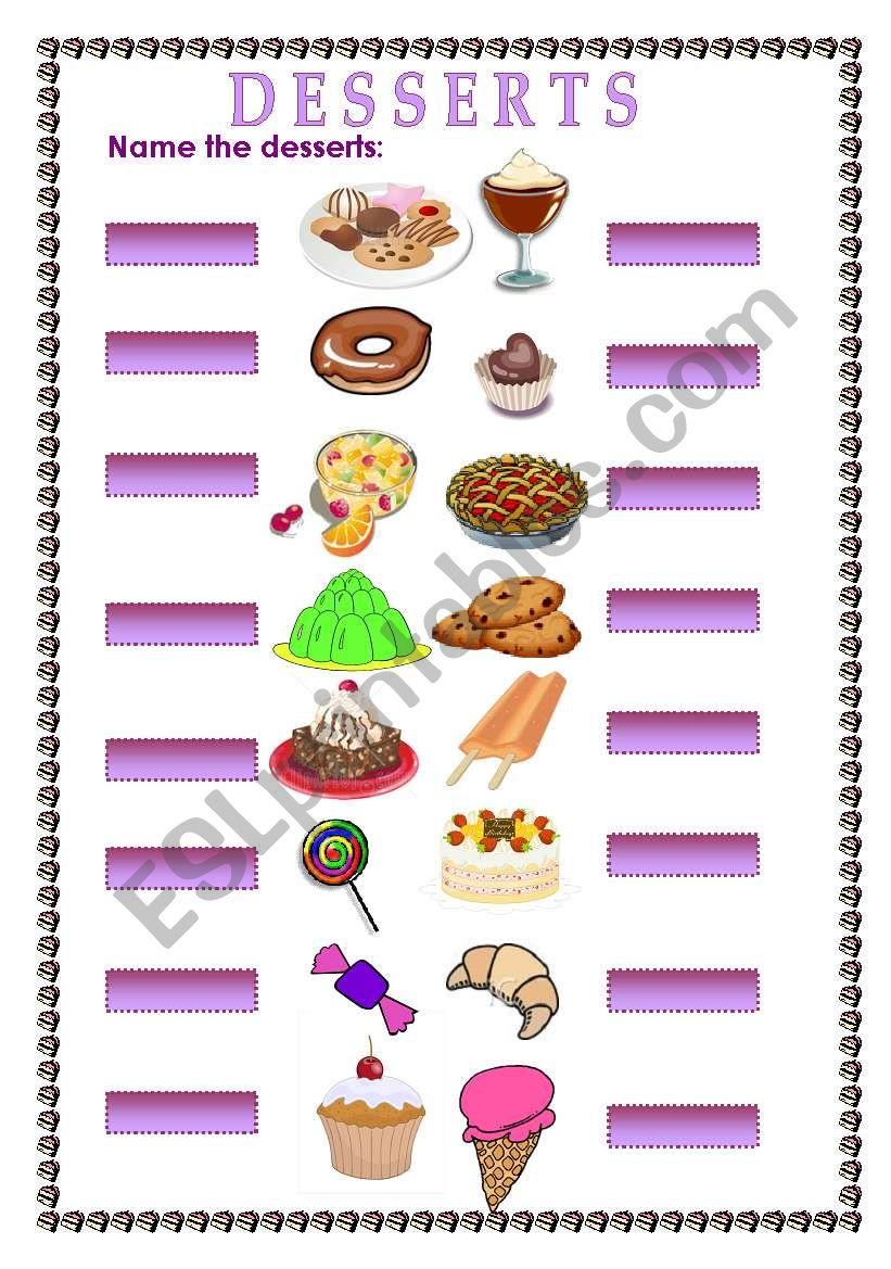 name the desserts worksheet