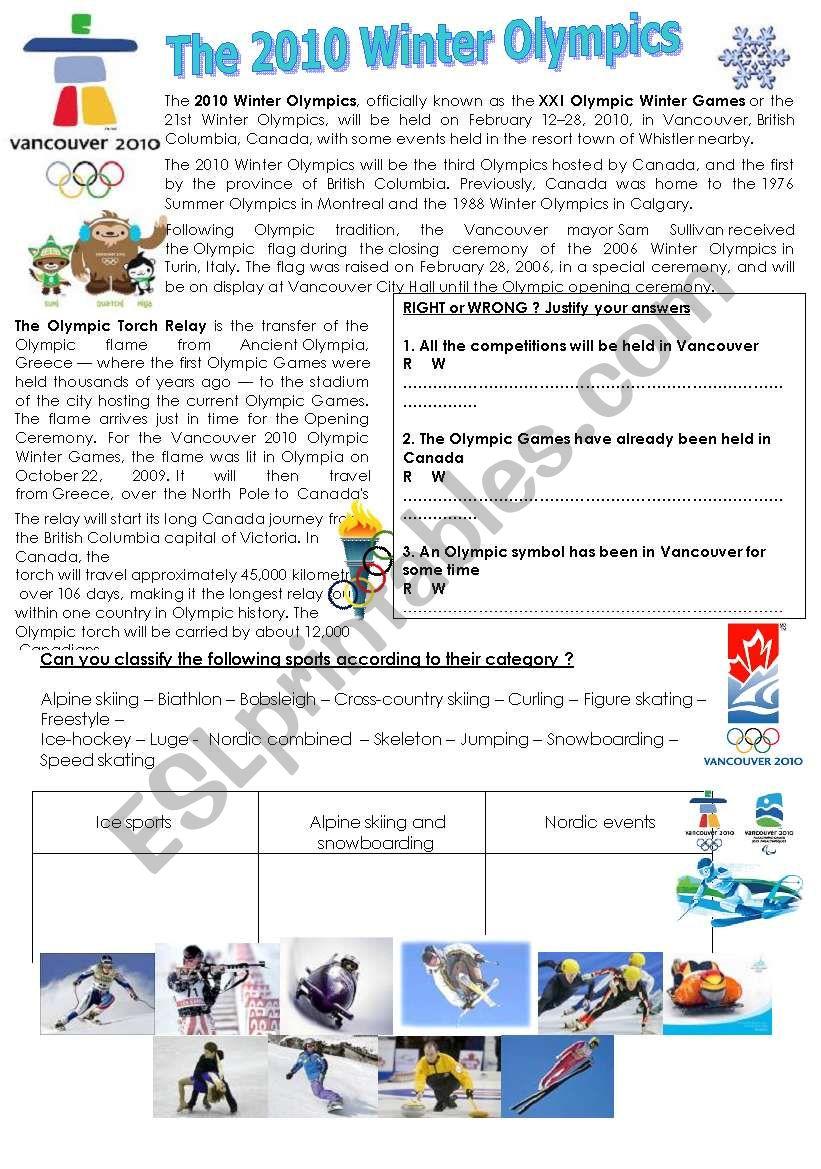 The 2010 Winter Olympics worksheet