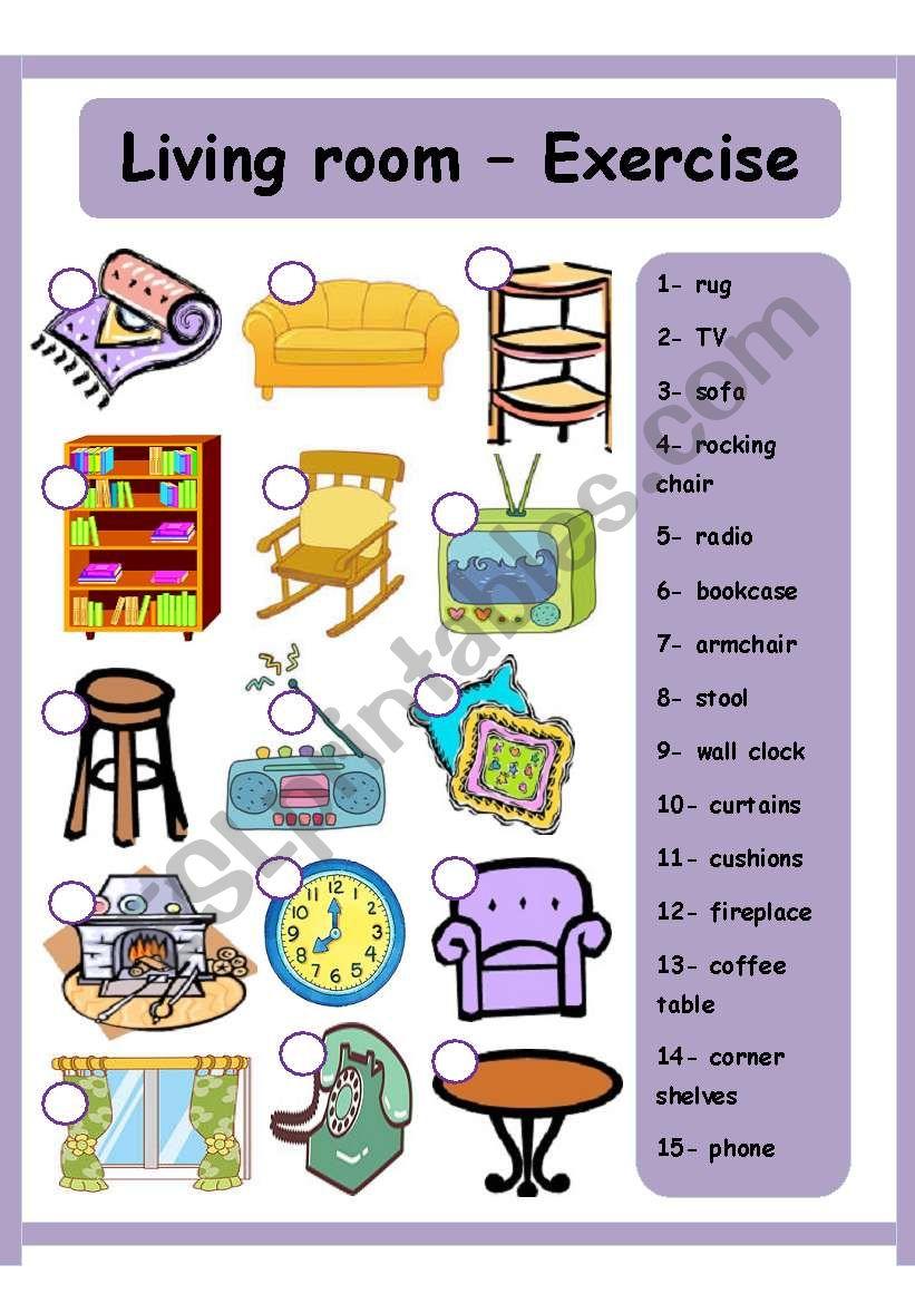 Living room - House worksheet