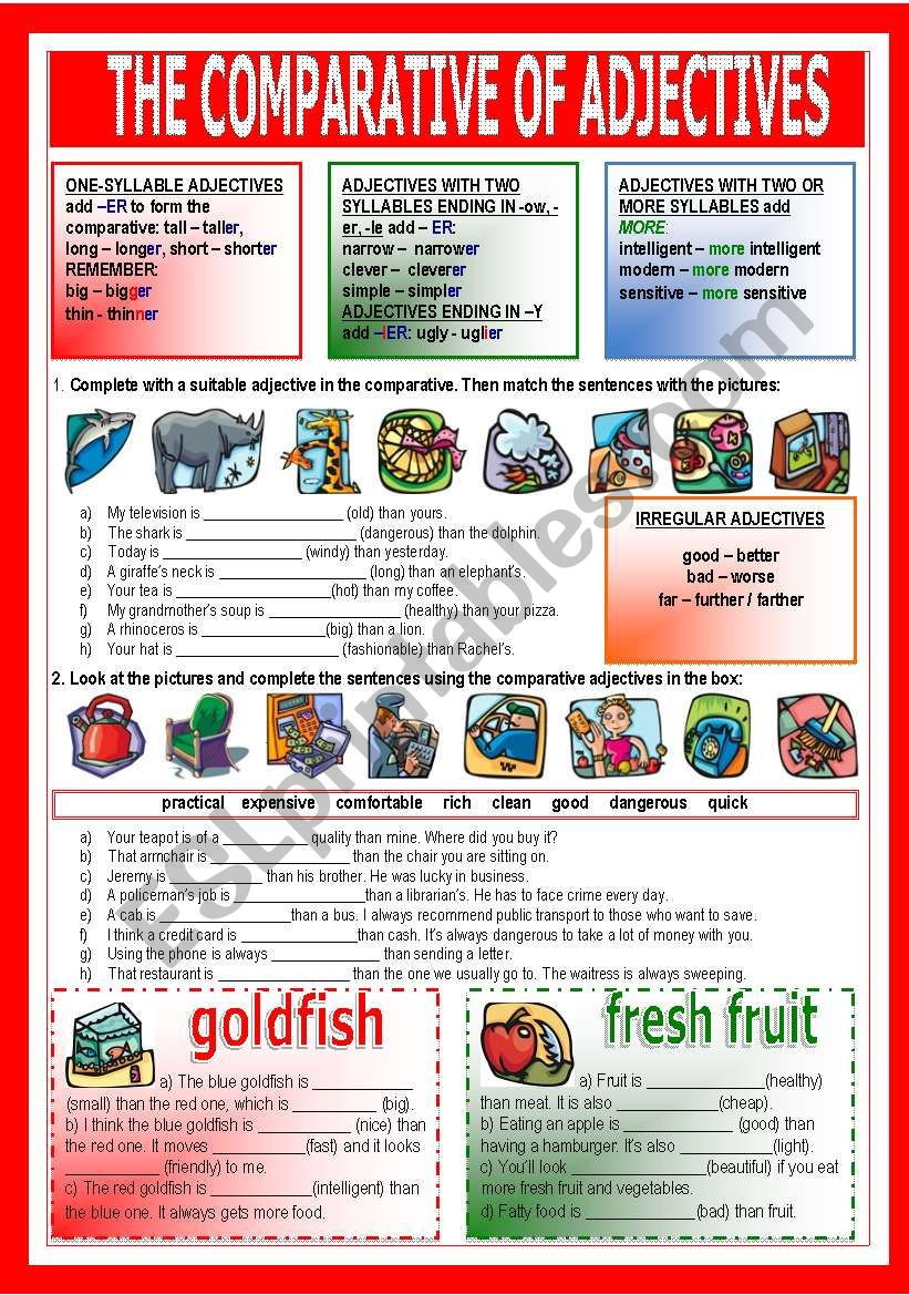 The comparative of adjectives worksheet