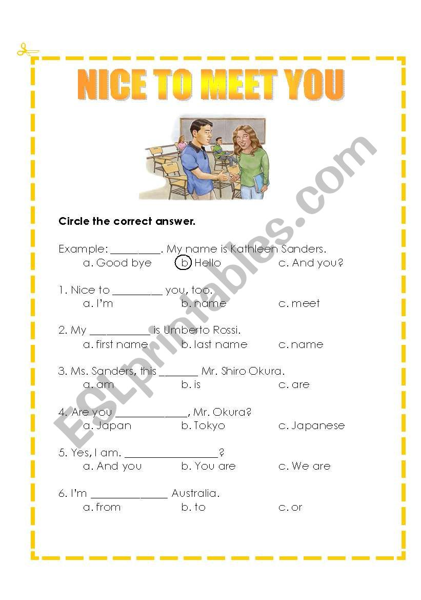 english worksheets  nice to meet you