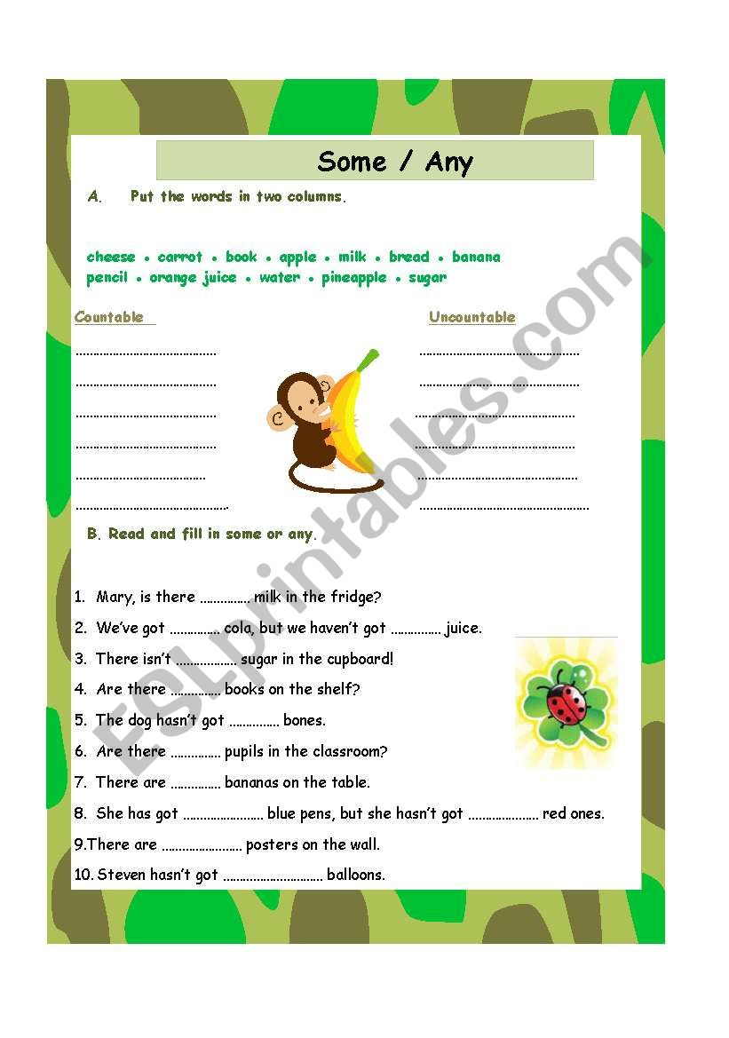 Some / Any worksheet