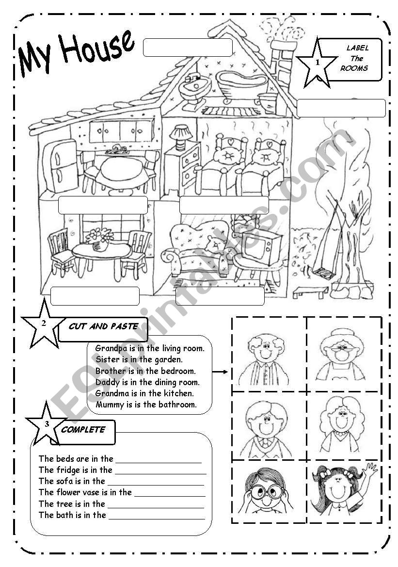 HOUSE and FAMILY - B&W worksheet