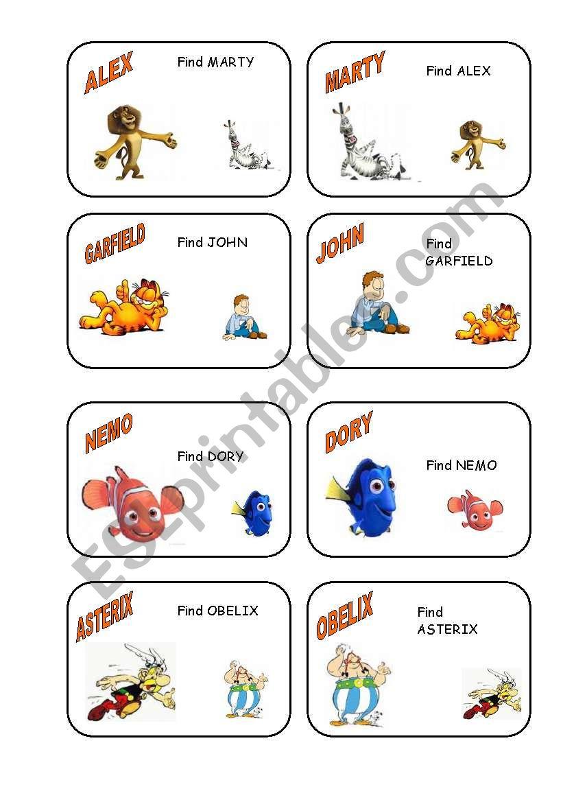 Speaking cards worksheet