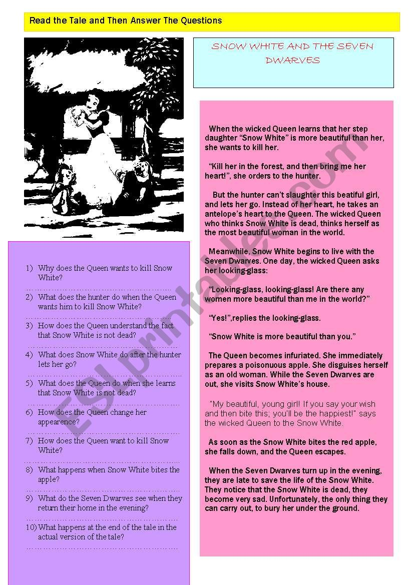 Snow White and the Seven Dwarves Tale/ simple present tense reading