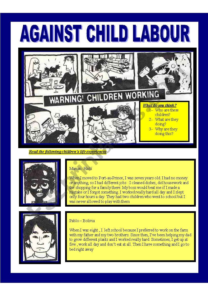 Child labour (reading adolescents/adults)