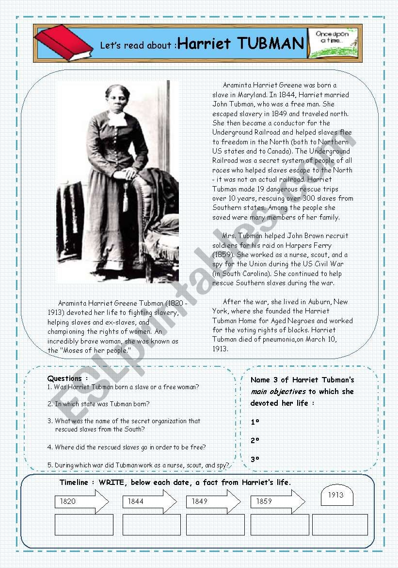 image regarding Harriet Tubman Printable Worksheets called Reader: Shorter Biography upon Harriet Tubman - ESL worksheet via