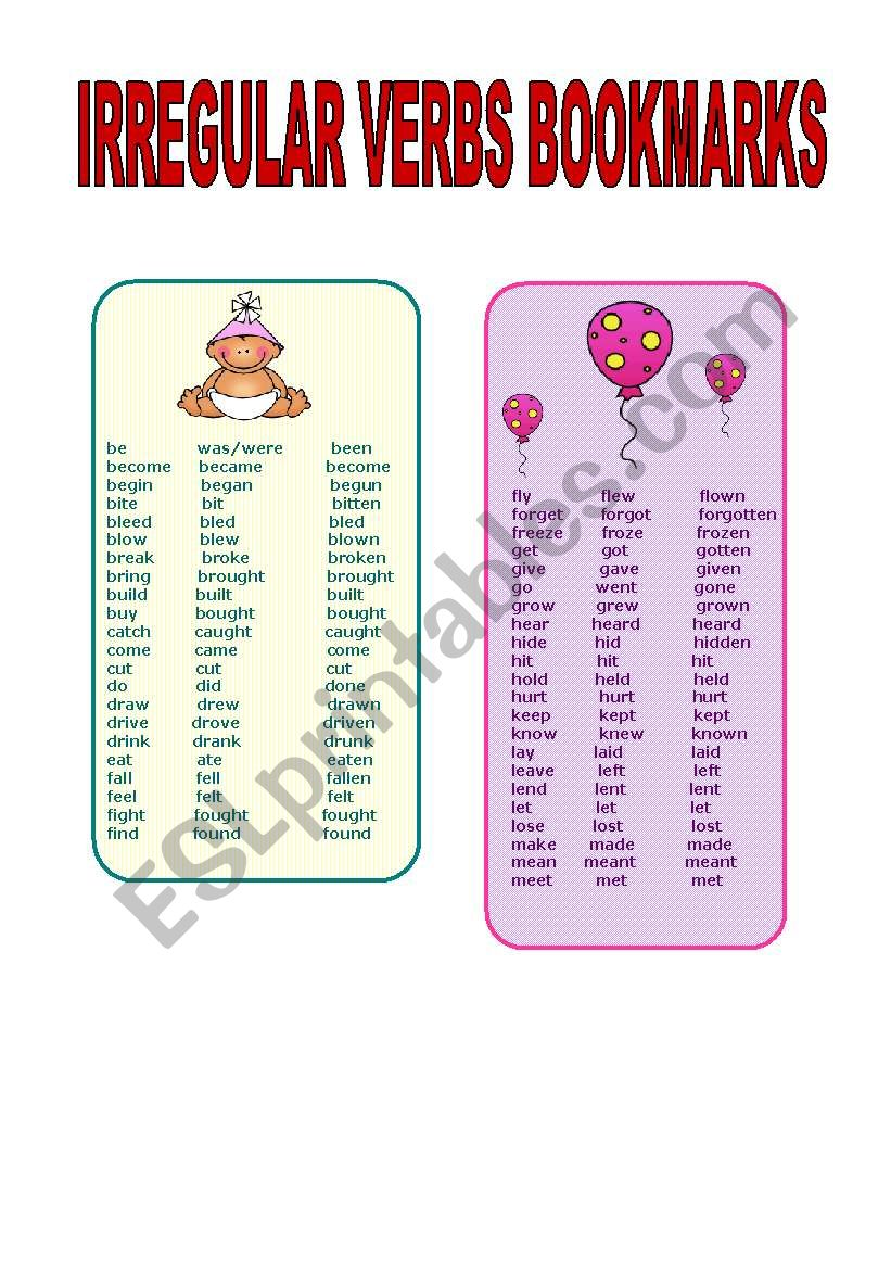cute irregular verbs bookmarks