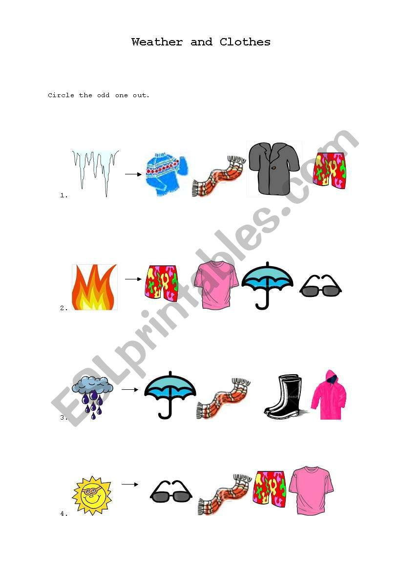 english worksheets  weather and clothes