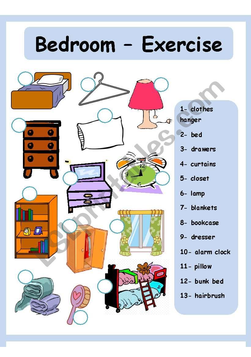 bedroom house esl worksheet by amna 107. Black Bedroom Furniture Sets. Home Design Ideas