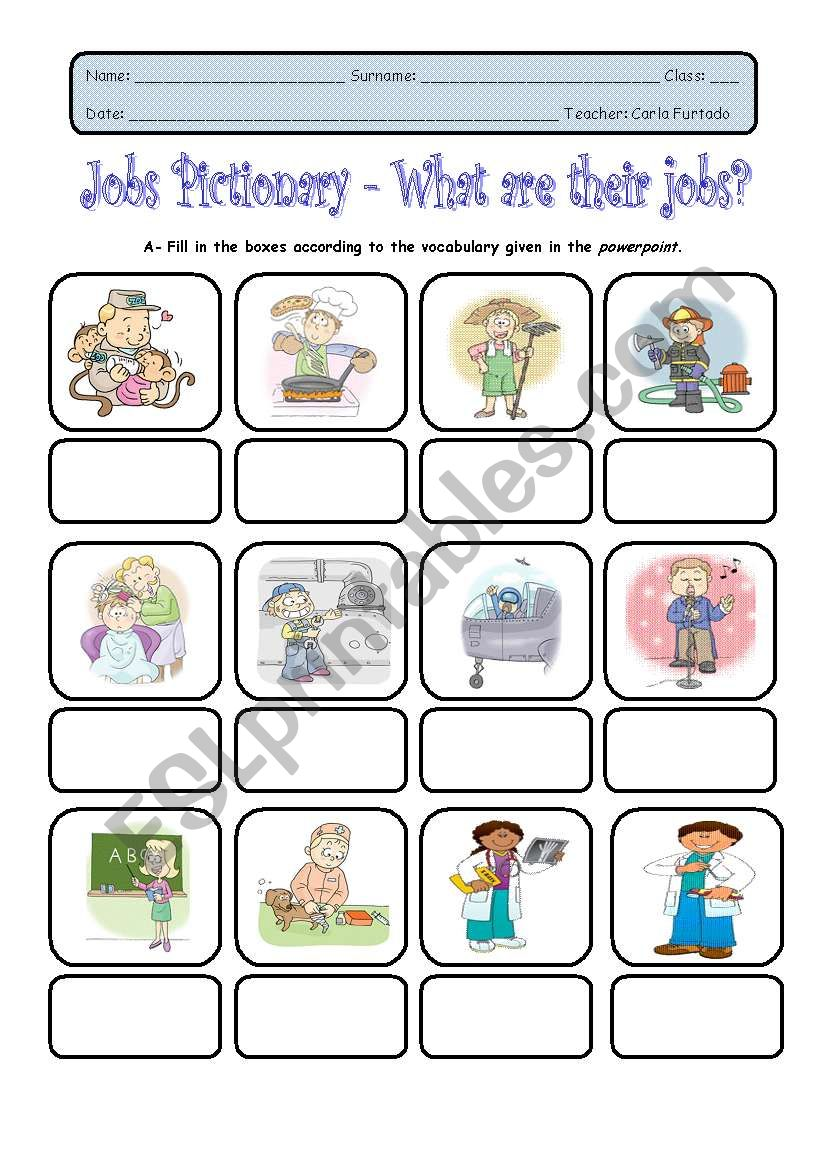 what are their jobs - ESL worksheet by achadinha