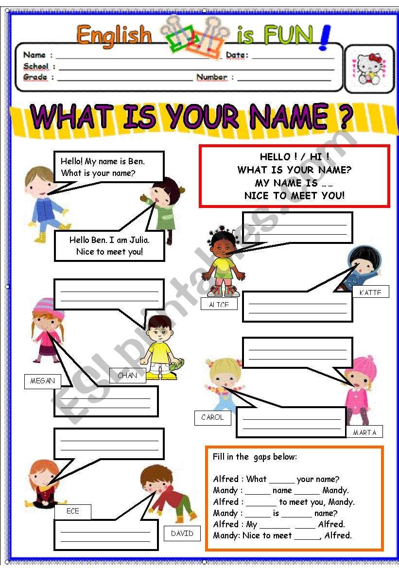 WHAT IS YOUR NAME? - ESL worksheet by bburcu