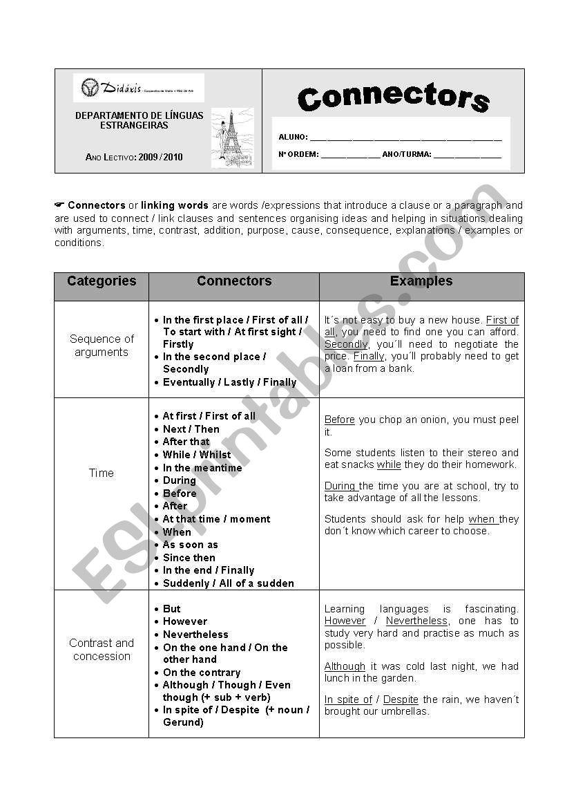 Connectors worksheet worksheet