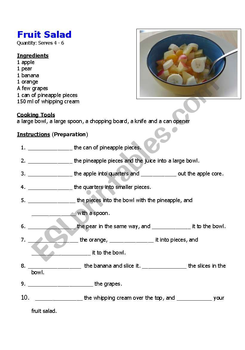 Easy fruit salad recipe esl worksheet by rote heike easy fruit salad recipe worksheet forumfinder Images