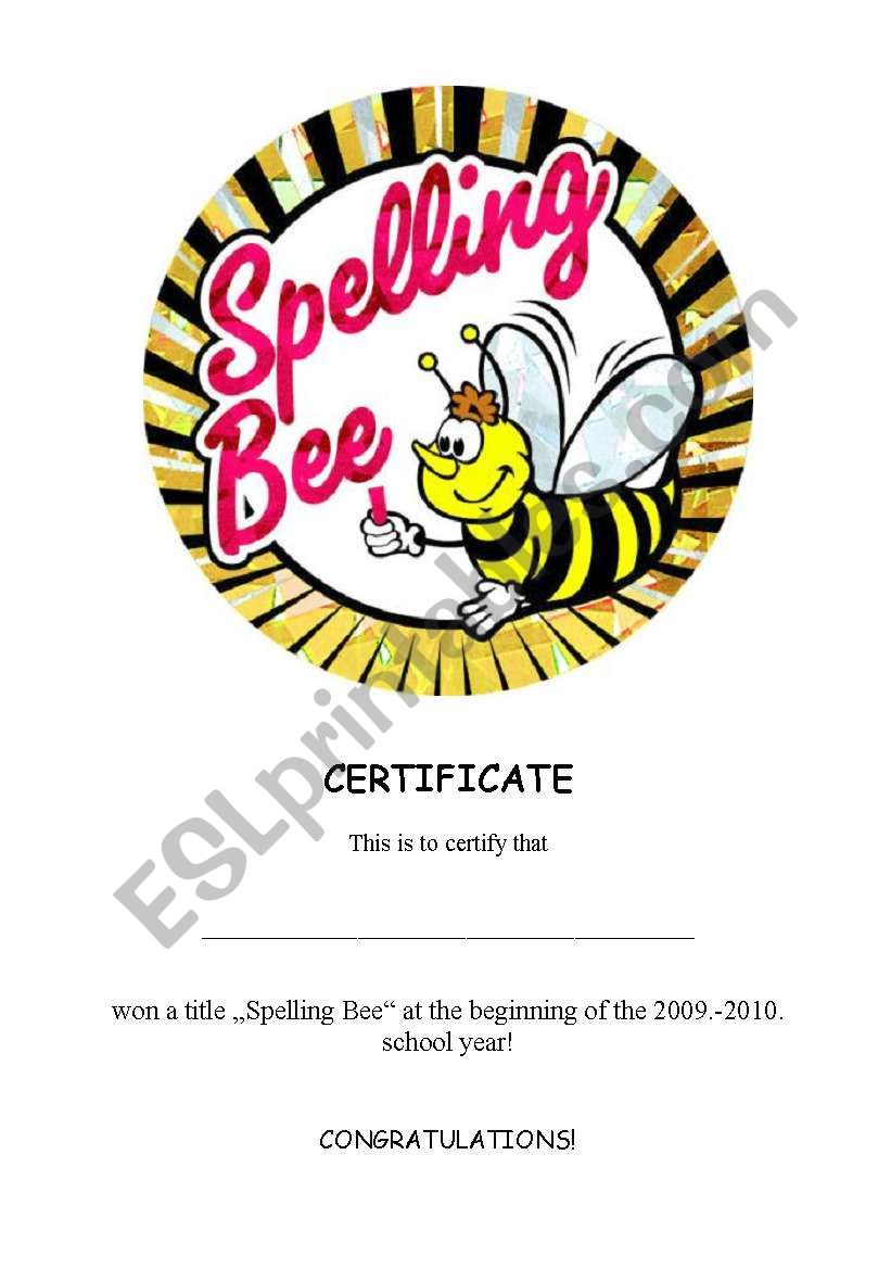 Cerificate for the Spelling Bee Contest