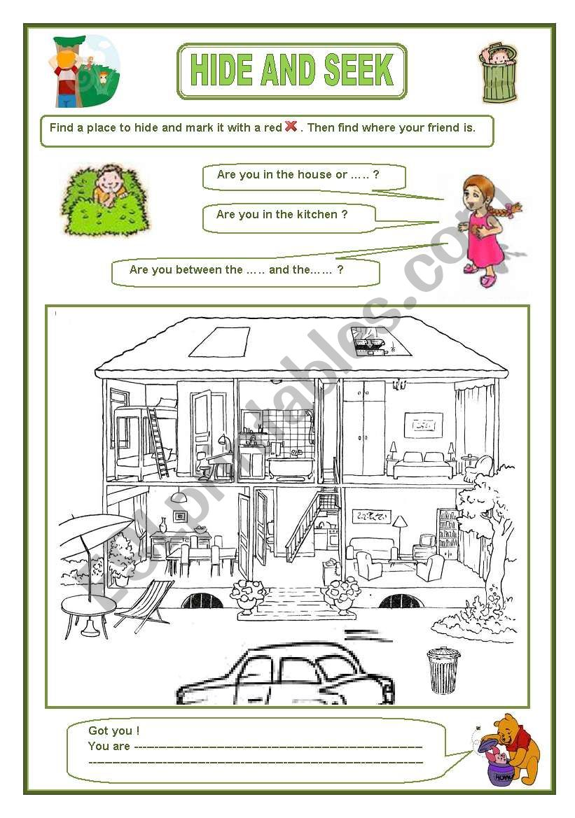 Pairwork: Hide and seek worksheet