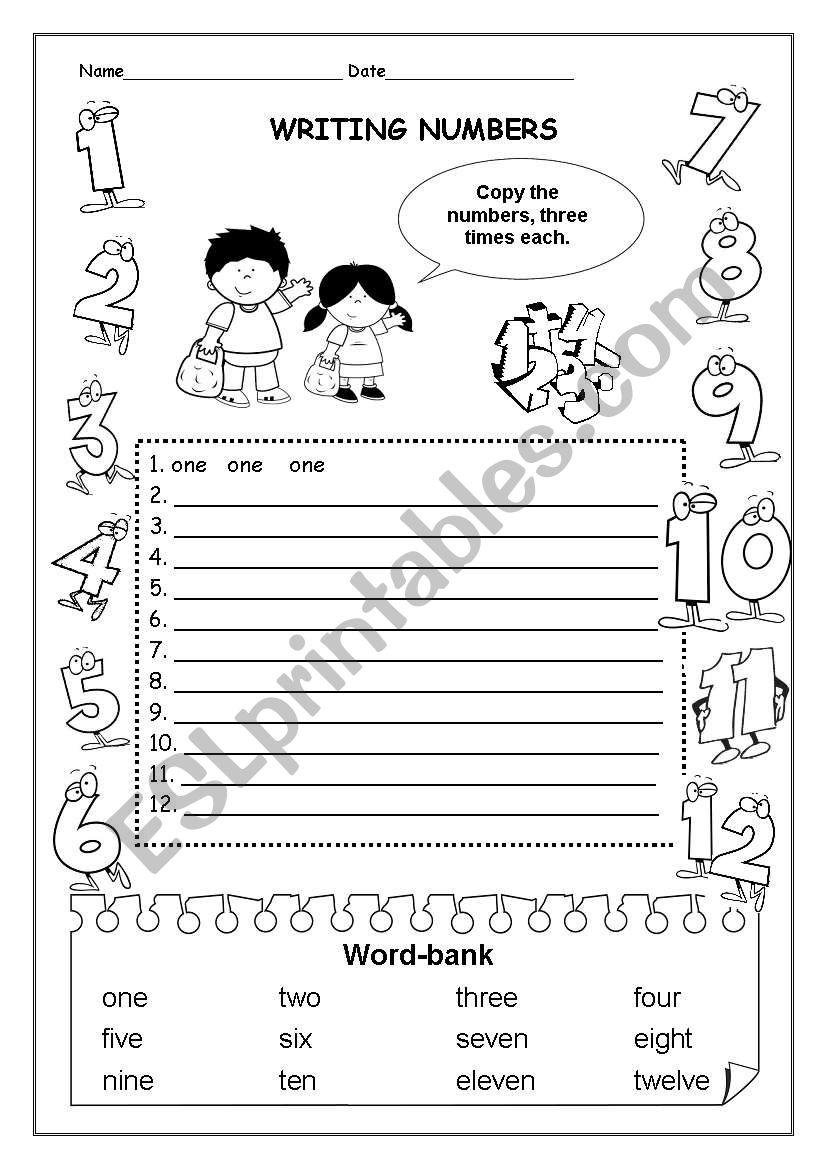 PART1/3 WRITING NUMBERS 1- 12 - ESL worksheet by izulia