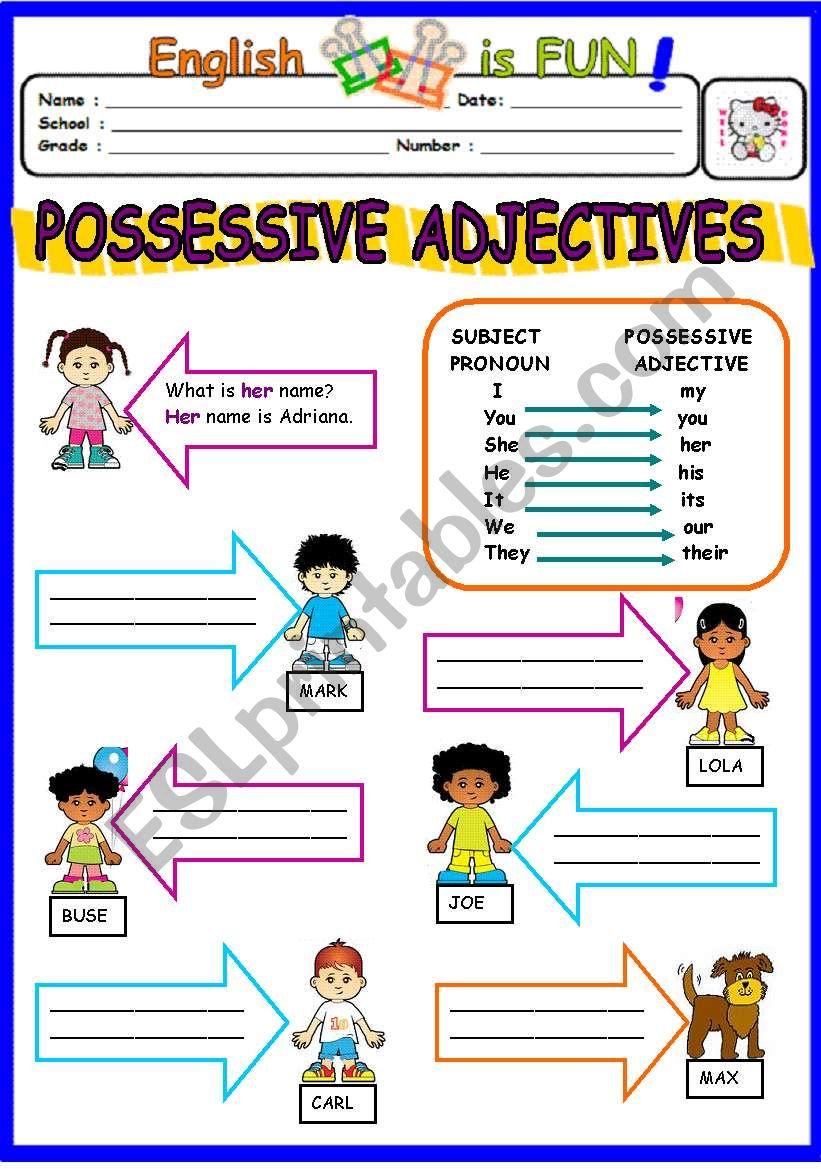 possessive adjectives esl worksheet by bburcu. Black Bedroom Furniture Sets. Home Design Ideas
