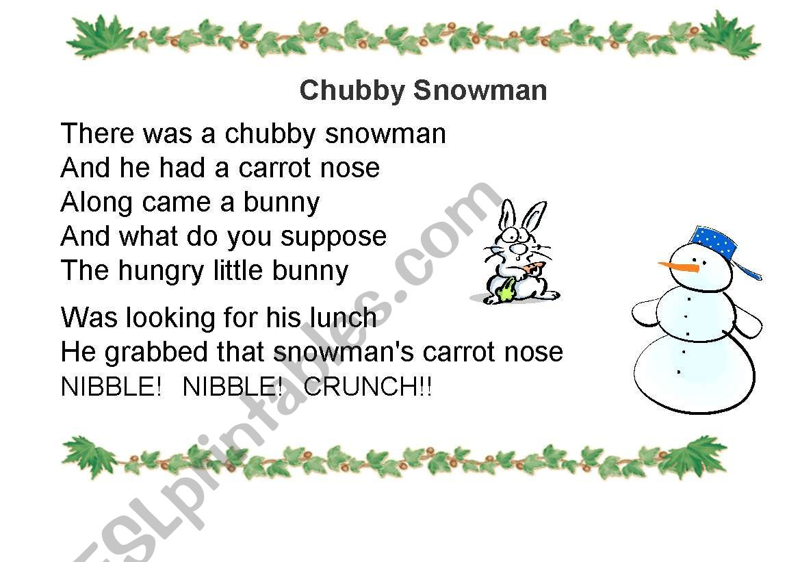 image about Chubby Little Snowman Poem Printable known as Obese Snowman - ESL worksheet through fatfatrea