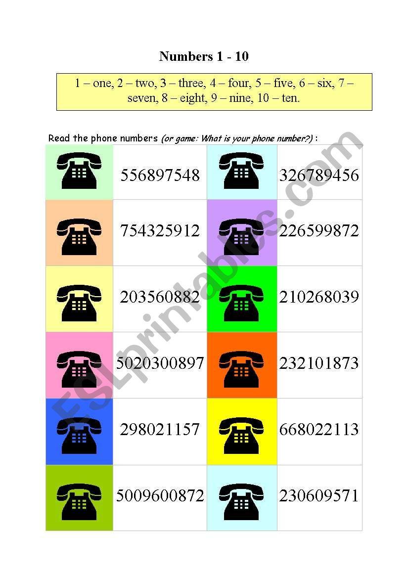 Phone numbers - ESL worksheet by lucak (F)