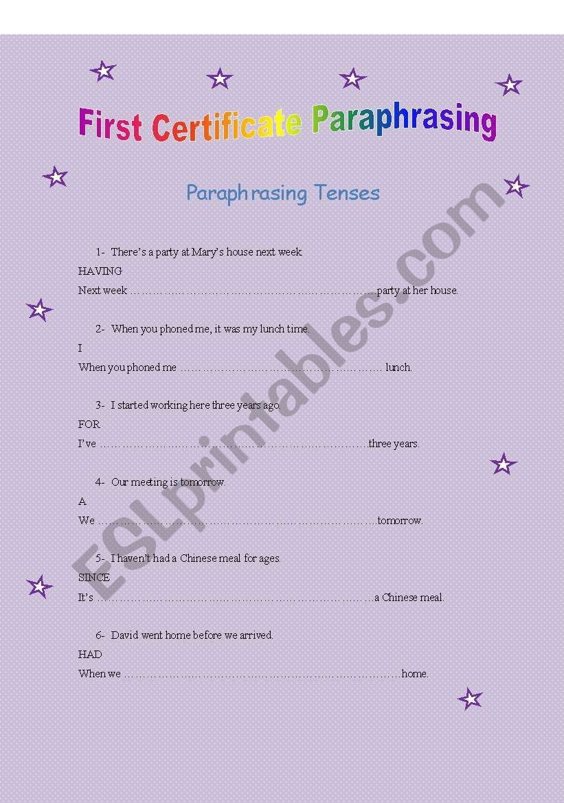 first certificate paraphrasing tenses 1
