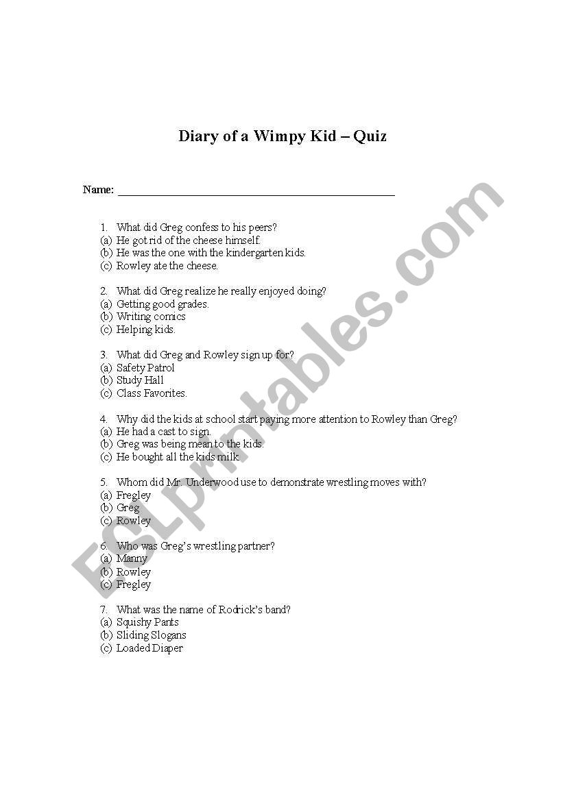 Diary of a Wimpy Kid Book 1 Multiple Choice Quiz