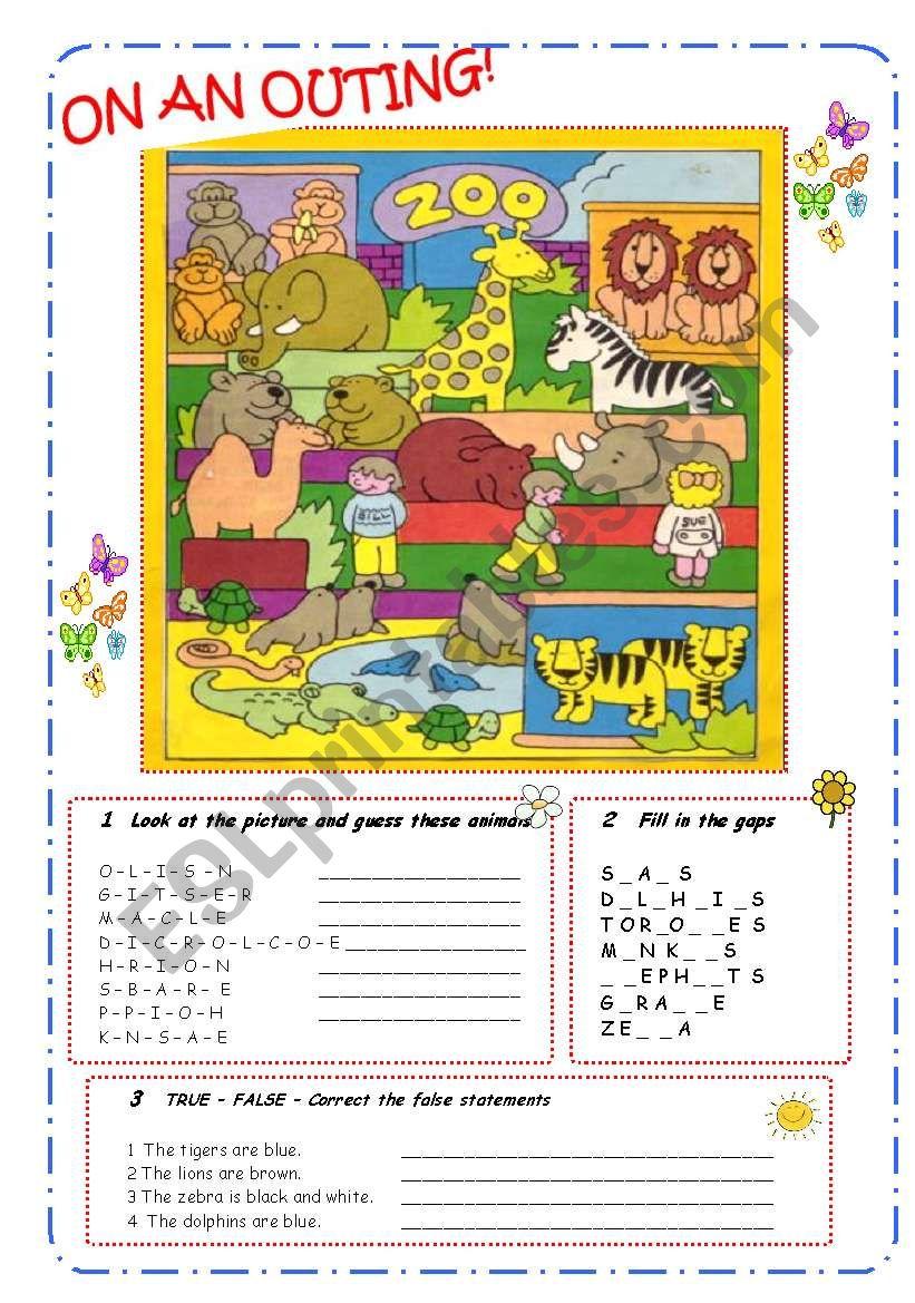 ANIMALS - B&W  worksheet