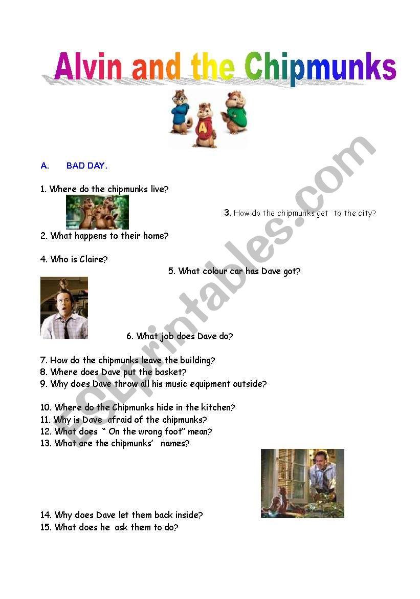 Alvin and the Chipmunks worksheet