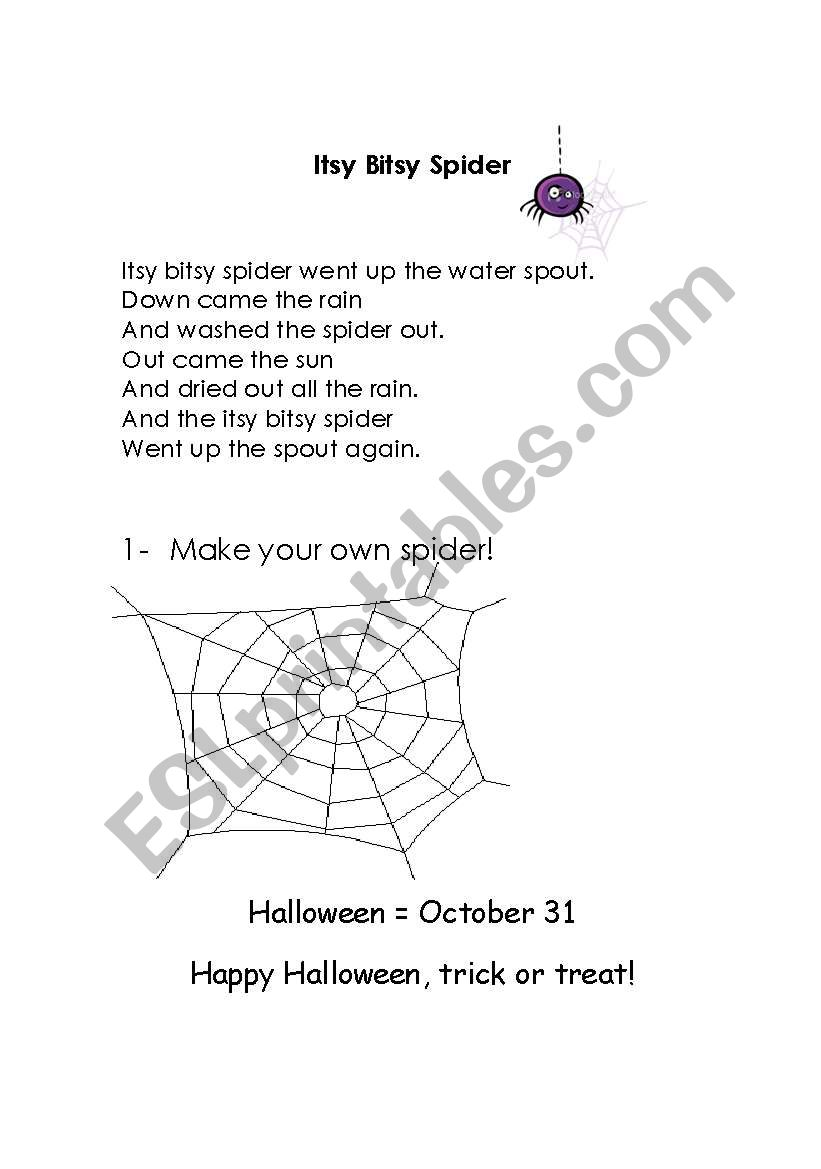 Itsy Bitsy Spider Song worksheet