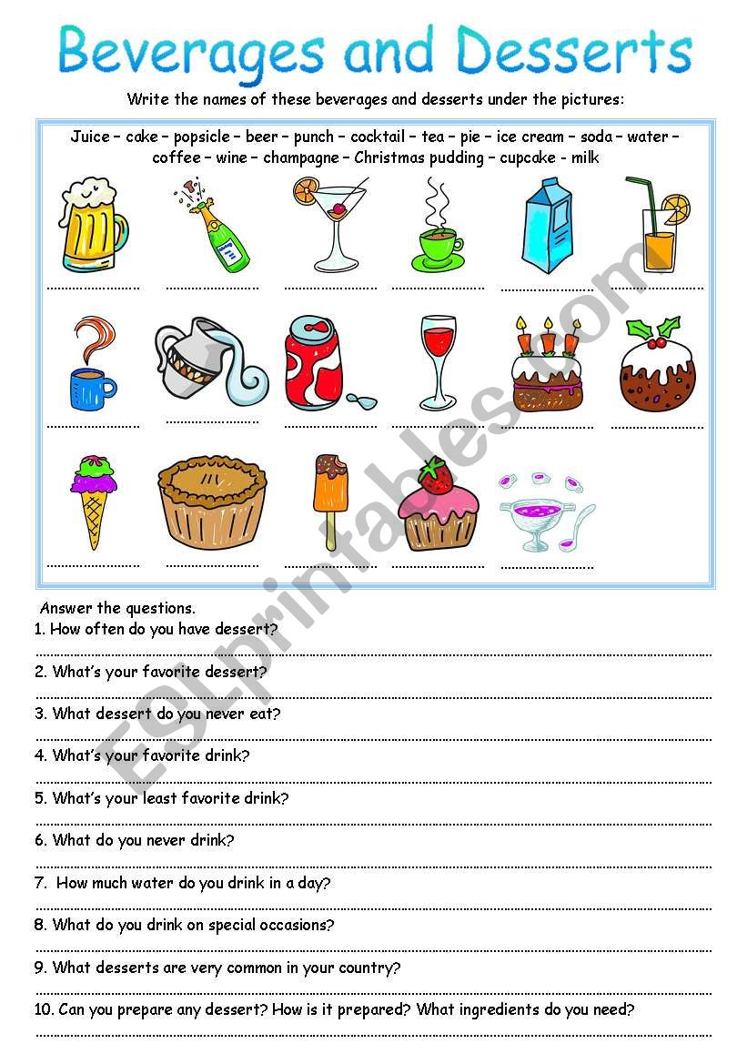 Beverages and Desserts worksheet