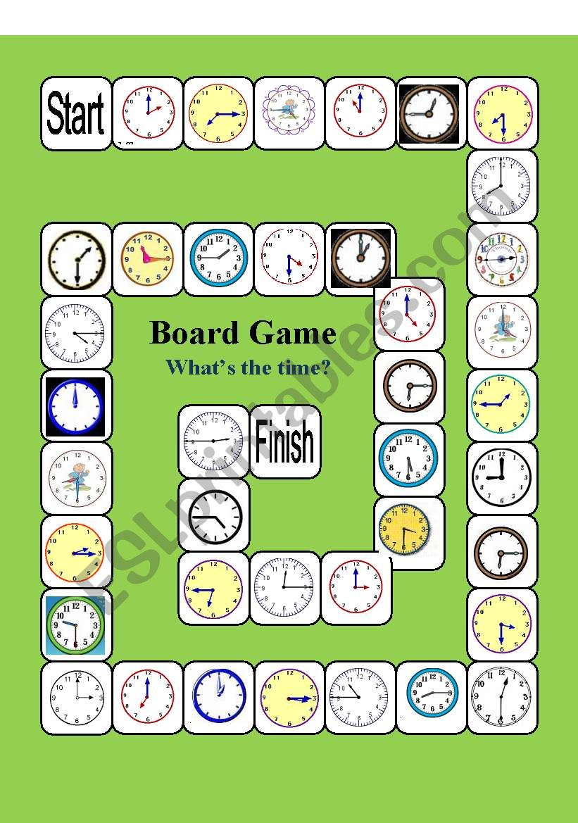 english worksheets board game what s the time. Black Bedroom Furniture Sets. Home Design Ideas