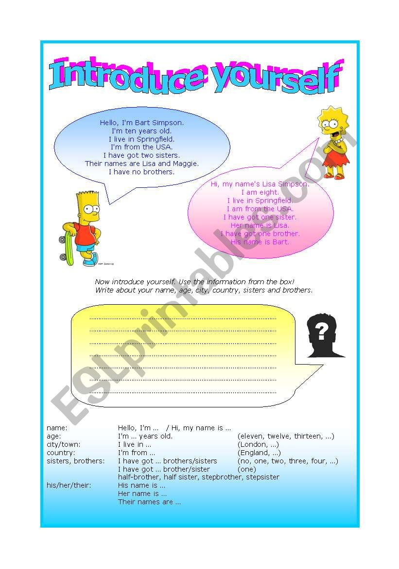 Introduce yourself - writing worksheet